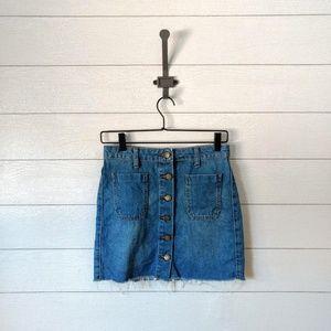 BDG Raw Hem Button Front Jean Skirt Size XS